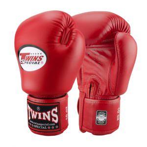 Guante de boxeo Twins special bgvl-3 de color rojo de piel artesanal