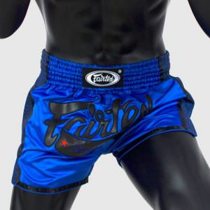 Pantalón de muay thai Fairtex de satén y color azul