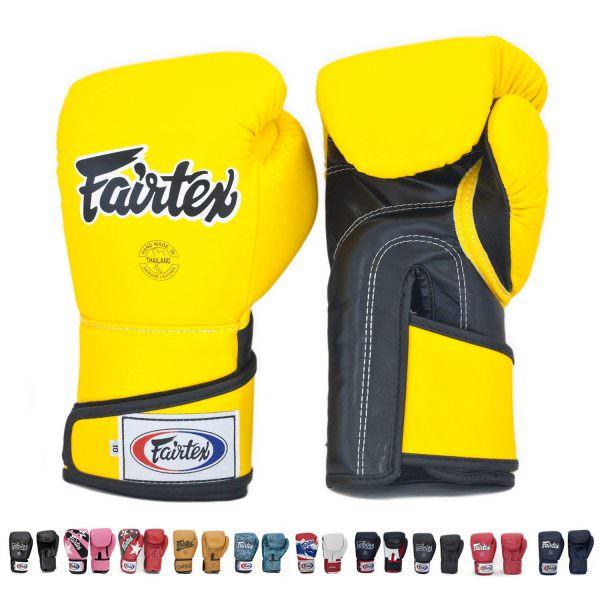 guante de boxeo Fairtex bgv6 de color amarillo negro