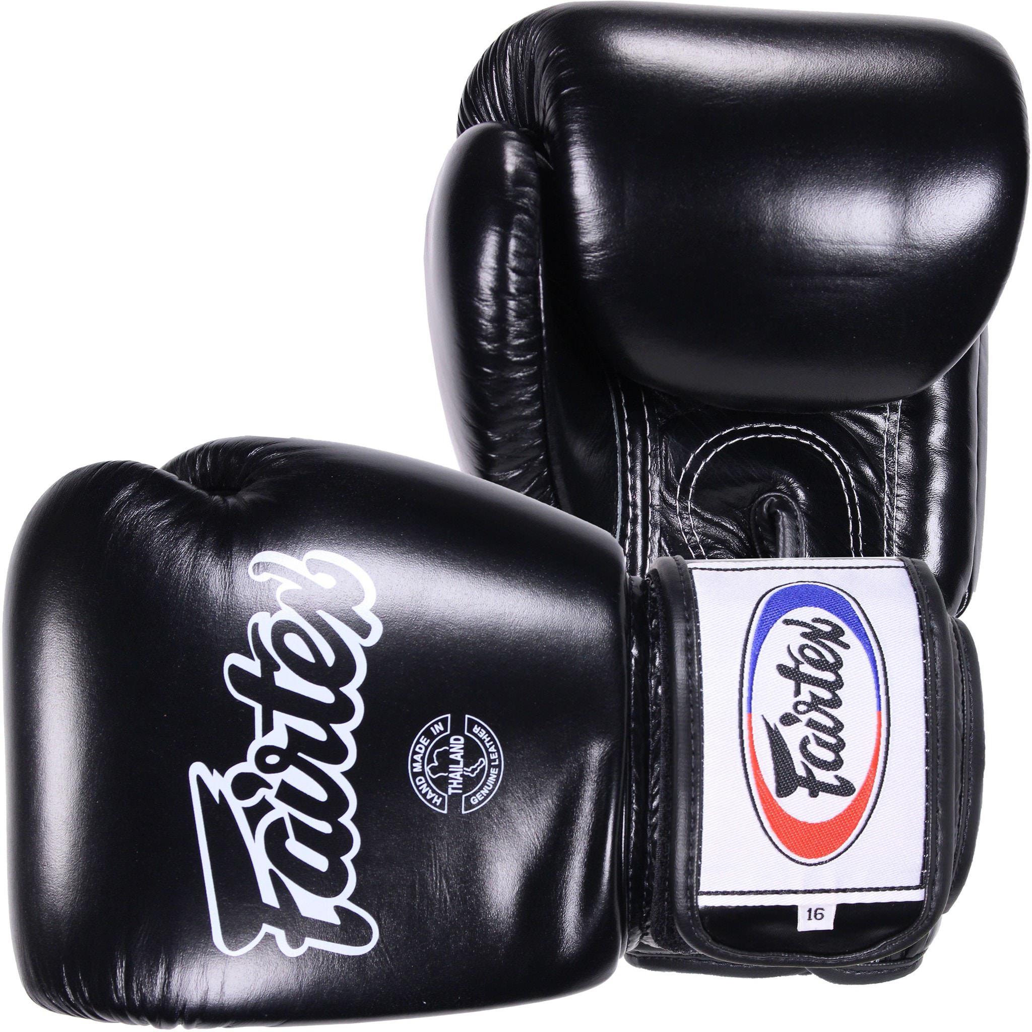 Guantes de Boxeo para Boxeo Color: Solid Negro Tama/ño: 12/14/16/oz bgv1-br Transpirable Guantes Kick Boxing Fairtex Muay Thai Guantes de Boxeo MMA Entrenamiento