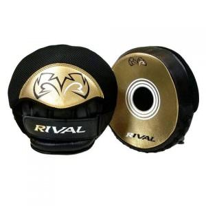 Manoplas Rival rpm5 parabolic punch mitts gold de color negro y dorado para deportes de contacto
