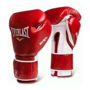 Guante de boxeo everlast mx velcro de color rojo y blanco