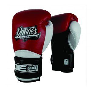 Guante de boxeo Danger Rocket 5.0 Chicago de color negro, blanco y rojo